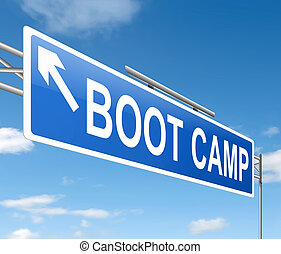 Boot camp concept. - Illustration depicting a sign with a...