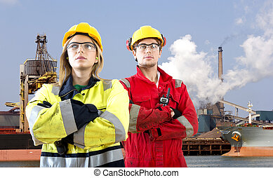 Harbor workers - Two logistical engineers, making a stance...