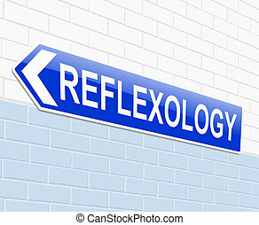 Reflexology concept. - Illustration depicting a sign with a...
