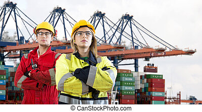Docker pride - Two proud looking dockers, wearing safety...