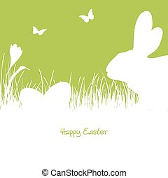 Happy Easter - white silhouette