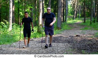 Hiker with walking sticks in the forest episode 1