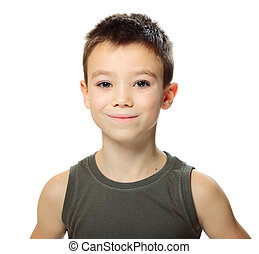 Handsome boy - Seven years cute boy isolated on white...