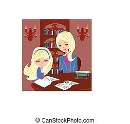 Mom helping her daughter with homework or schoolwork at...