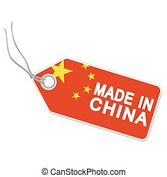Hangtag with MADE IN CHINA - isolated hang tag with china...