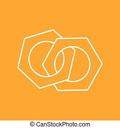 Vector nuts icon Eps10 - Vector outline two nuts flat icon...