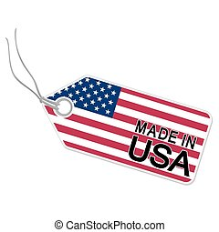 hangtag with MADE IN USA - hang tag with flag of the USA and...