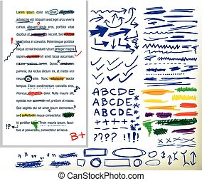handdrawn correction elements - collection of different...