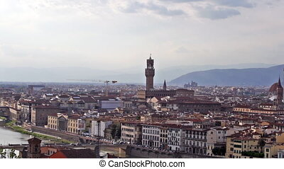 Panoramic view of Florence in summer evening