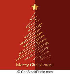 Vector Merry Christmas card with fir tree