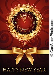 Vector Happy New Year card with clock and ribbbon