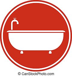 Bathtub button on white background Vector illustration
