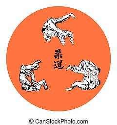 Six wrestlers judo on a red background.