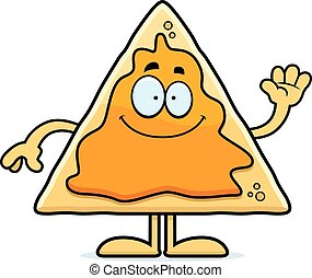 Cartoon Nachos Waving - A cartoon illustration of a nacho...