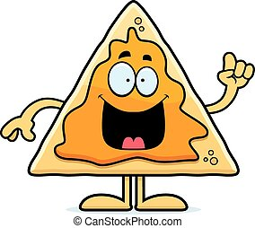 Cartoon Nachos Idea - A cartoon illustration of a nacho chip...