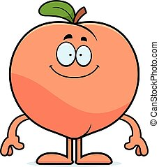 Happy Cartoon Peach - A cartoon illustration of a peach...