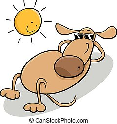 dog taking sunbath cartoon illustration - Cartoon...