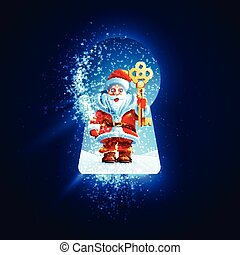Santa Claus with a golden key in the keyhole - Happy New...