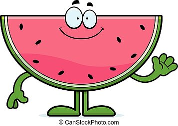 Cartoon Watermelon Waving