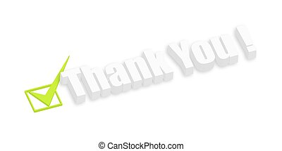 Thank You 3d Text with Right Symbol Vector Illustration