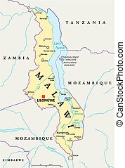 Malawi Political Map with capital Lilongwe, national...
