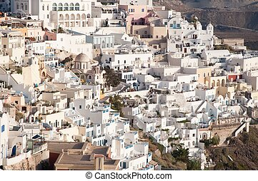 Panorama view of Fira, the main stunning cliff-perched town...