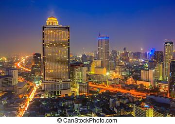 Cityscape Night In Bangkok City Thailand