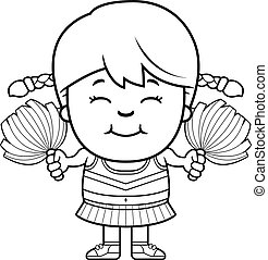 Cartoon Cheerleader Pompoms - A cartoon illustration of a...