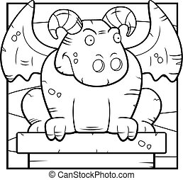 Cartoon Gargoyle - A happy cartoon stone gargoyle perched on...