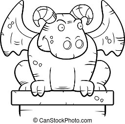 Gargoyle Perched - A cartoon stone gargoyle monster perched