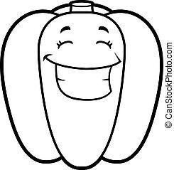 Cartoon Bell Pepper Grinning - A cartoon illustration of a...
