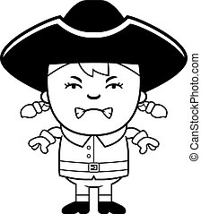 Angry Colonial Girl - A cartoon illustration of a colonial...