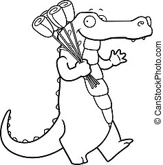 Cartoon Alligator Flowers