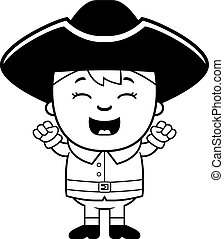 Excited Colonial Child - A cartoon illustration of a...