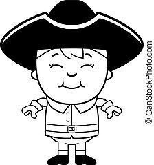 Colonial Boy - A cartoon illustration of a colonial boy...