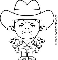 Angry Little Cowgirl - A cartoon illustration of a little...