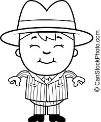 Kid Mobster - A happy cartoon kid mobster standing and...