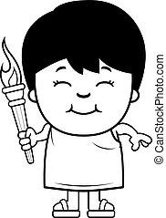 Cartoon Boy Olympic Torch - A cartoon illustration of a...