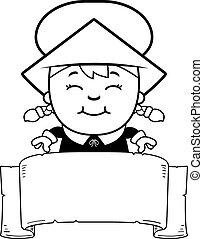 Girl Pilgrim Banner - A cartoon illustration of a girl...