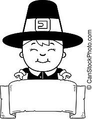 Child Pilgrim Banner - A cartoon illustration of a boy...