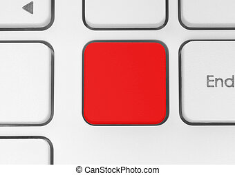 Blank red button - Blank red button on the keyboard close-up...