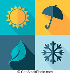 Vector four seasons weather icon set
