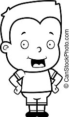 Toddler Smiling - A happy cartoon toddler boy standing and...