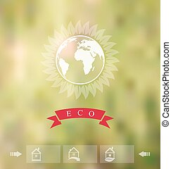 Blurred background with eco badge, ecology label with icons of g