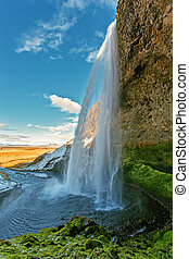 seljalandfoss waterfall on south coast of Iceland