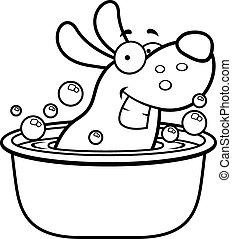 Cartoon Dog Bath - A cartoon illustration of a dog taking a...