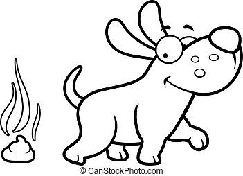 Cartoon Dog Poop - A cartoon illustration of a dog pooping.