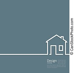 Web template house logo in minimal style - Web template...