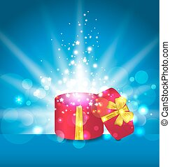 Open round gift box for your holiday - Illustration open...