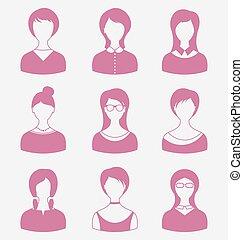 Avatars set front portrait of females isolated on white backgrou